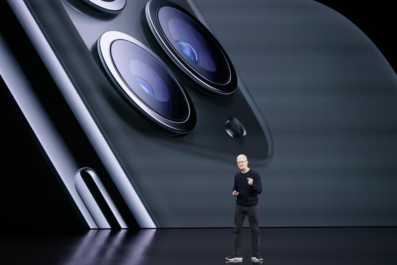 Apple CEO Tim Cook, talks about the new iPhone 11 Pro and Max, during an event to announce new products Tuesday, Sept. 10, 2019, in Cupertino, Calif. (AP Photo/Tony Avelar)