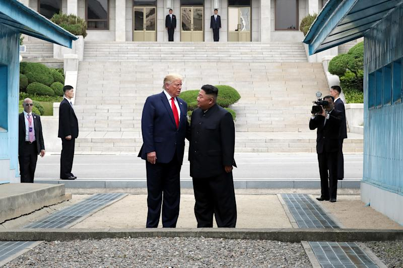 President Donald Trump meets with North Korean leader Kim Jong Un at the North Korean side of the border at the village of Panmunjom in Demilitarized Zone on June 30, 2019.