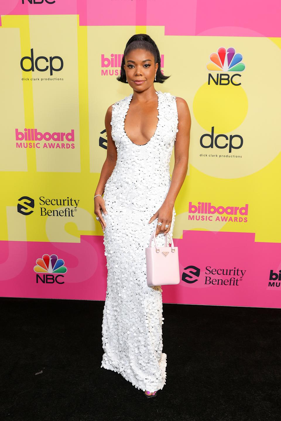 LOS ANGELES, CALIFORNIA - MAY 23: Gabrielle Union poses backstage for the 2021 Billboard Music Awards, broadcast on May 23, 2021 at Microsoft Theater in Los Angeles, California. (Photo by Rich Fury/Getty Images for dcp)