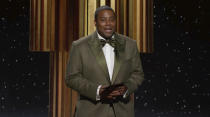 In this video grab issued Sunday, Feb. 28, 2021, by NBC, Keenan Thompson presents the award for best television drama series at the Golden Globe Awards. (NBC via AP)