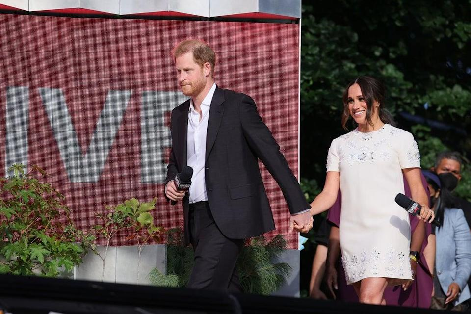 Meghan and Harry entered the stage hand in hand (Getty Images for Global Citizen)