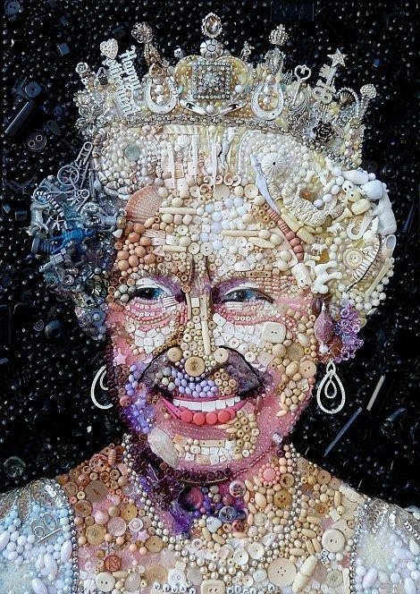 "<p>Artist, Jane Perkins created this portrait of The Queen out of recycled rubbish such as odd buttons and shells.<i> <a href=""https://uk.pinterest.com/pin/249386898086045283/"">[Photo: Pinterest]</a></i></p>"