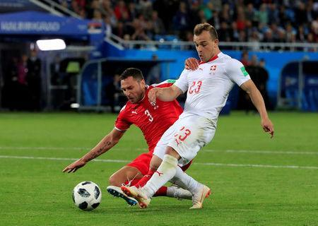 Soccer Football - World Cup - Group E - Serbia vs Switzerland - Kaliningrad Stadium, Kaliningrad, Russia - June 22, 2018 Switzerland's Xherdan Shaqiri scores their second goal REUTERS/Gonzalo Fuentes TPX IMAGES OF THE DAY
