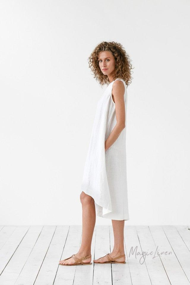 """Does this dress look familiar? <a href=""""https://www.refinery29.com/en-us/2020/07/9909926/magic-linen-dress-meghan-markle"""" rel=""""nofollow noopener"""" target=""""_blank"""" data-ylk=""""slk:Meghan Markle recently catapulted the breezy, asymmetrical Toscana Dress"""" class=""""link rapid-noclick-resp"""">Meghan Markle recently catapulted the breezy, asymmetrical Toscana Dress</a> — from aptly-named Lithuanian label Magic Linen — to stardom when she wore it out and about in Beverly Hills on July 10th. Somehow, however, this exposure didn't result in sold-out-dom — a common downside of the """" <a href=""""https://www.vogue.com.au/fashion/trends/everything-you-need-to-know-about-the-meghan-markle-effect/news-story/17c24d0c29747971a64ae322370100a1"""" rel=""""nofollow noopener"""" target=""""_blank"""" data-ylk=""""slk:Markle effect"""" class=""""link rapid-noclick-resp"""">Markle effect</a>"""" — so you can still nab one. For now. <br><br><em>Shop <strong><a href=""""https://magiclinen.com/"""" rel=""""nofollow noopener"""" target=""""_blank"""" data-ylk=""""slk:Magic Linen"""" class=""""link rapid-noclick-resp"""">Magic Linen</a></strong></em><br><br><strong>Magic Linen</strong> Toscana Dress, $, available at <a href=""""https://go.skimresources.com/?id=30283X879131&url=https%3A%2F%2Fmagiclinen.com%2Flinen-dress-toscana"""" rel=""""nofollow noopener"""" target=""""_blank"""" data-ylk=""""slk:Magic Linen"""" class=""""link rapid-noclick-resp"""">Magic Linen</a><br><br>"""