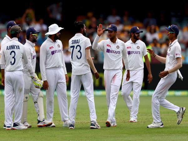 Indian players celebrate the fall of an Australia wicket (Photo/ ICC Twitter)