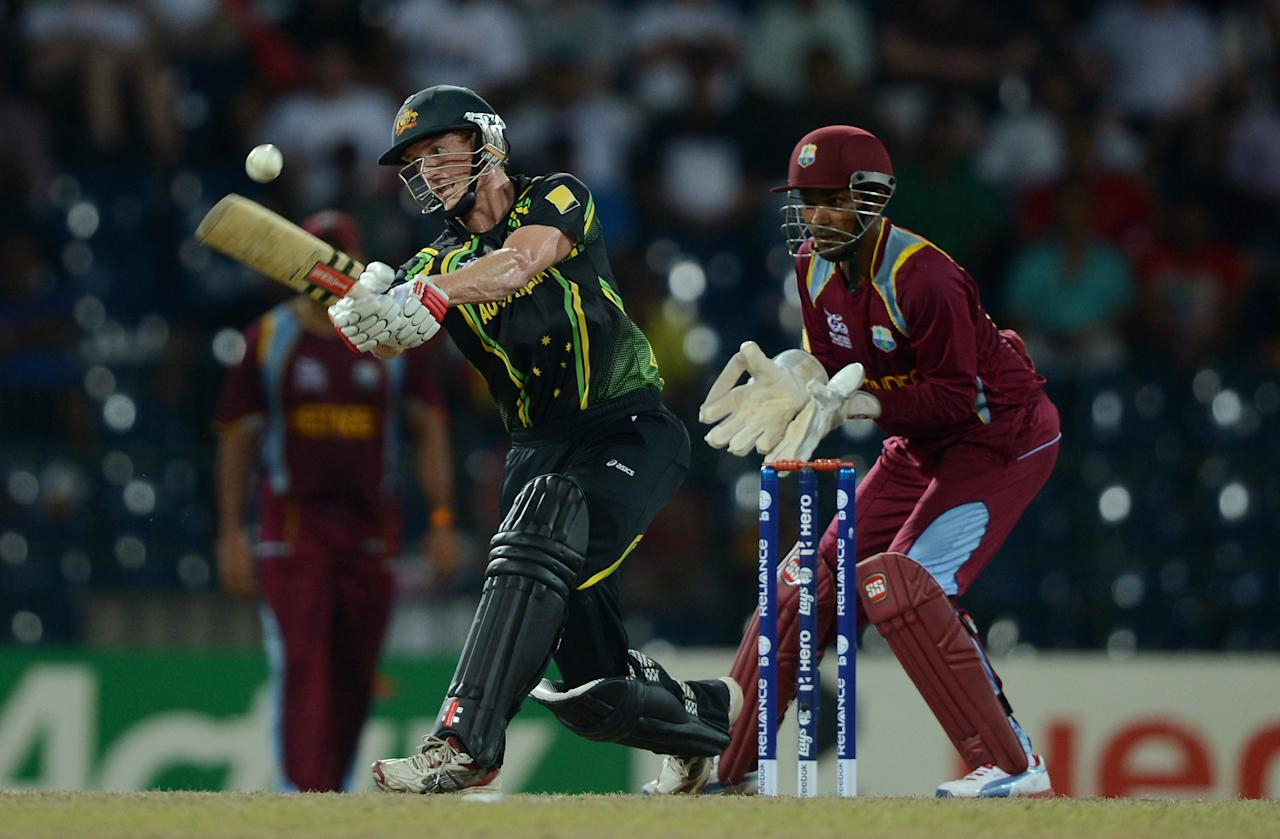 COLOMBO, SRI LANKA - OCTOBER 05: Australia captain George Bailey bats during the ICC World Twenty20 2012 Semi Final between Australia and the West Indies at R. Premadasa Stadium on October 5, 2012 in Colombo, Sri Lanka.  (Photo by Gareth Copley/Getty Images)