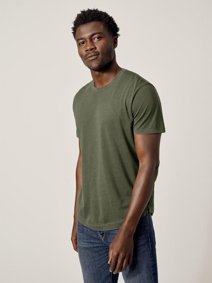 """Pima cotton tees are way (but, like, <em>waaay</em>) softer than regular cotton tees, so expect him to want one in every color. $35, Buck Mason. <a href=""""https://www.buckmason.com/products/moss-venice-wash-pima-curved-hem-tee"""" rel=""""nofollow noopener"""" target=""""_blank"""" data-ylk=""""slk:Get it now!"""" class=""""link rapid-noclick-resp"""">Get it now!</a>"""
