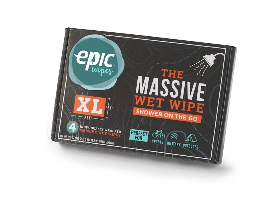 """<p>We couldn't not include these. Start up company Epic Wipes make wet wipes with a difference. For the more mud-prone festival goer, Epic Wipes provide what is essentially a shower in a pack with their massive 32 x 20 inch wet wipes. What's more is that they're made from bamboo-derived viscose, a combination that makes them both 100% biodegradable and sustainable.<br><a rel=""""nofollow noopener"""" href=""""https://epicwipes.com/products/epic-wipes-4-pack-massive-wet-wipes"""" target=""""_blank"""" data-ylk=""""slk:Buy here."""" class=""""link rapid-noclick-resp"""">Buy here.</a> </p>"""