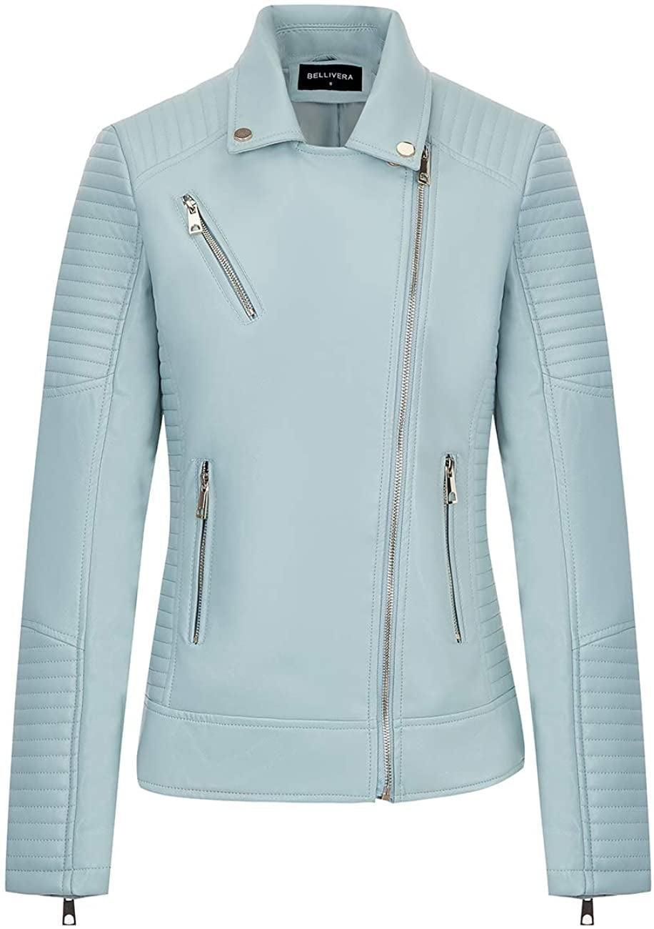 <p>Fans of the color will obsess over this soft blue <span>Bellivera Faux Leather Jacket</span> ($46).</p>
