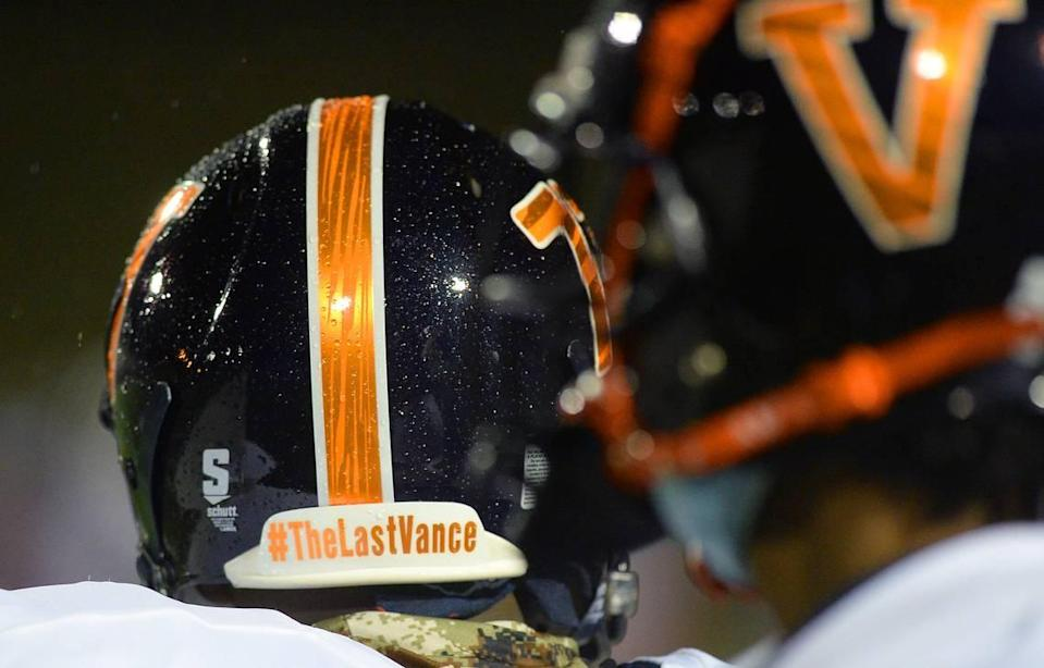 The back of the Vance Cougars football helmets carry the hashtag #TheLastVance. The school has been renamed in honor of civil rights attorney Julius L. Chambers, but the athletic teams don't become the Chambers Cougars until July 2021.