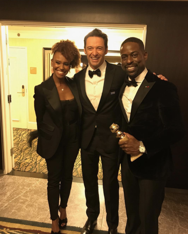"<p>""If velvet and butter had a baby, and that baby became a man, it would be Hugh Jackman,"" Sterling K. Brown's wife wrote, better than any of us ever could have, after being introduced to <em>The Greatest Showman</em> star on Sunday after the Golden Globes. ""My husband and I were so happy to meet him and his lovely wife!!!!"" (Photo: <a href=""https://www.instagram.com/p/BdrrsLnnIjj/?taken-by=ryanmichelleb"" rel=""nofollow noopener"" target=""_blank"" data-ylk=""slk:Ryan Michelle Bathe via Instagram"" class=""link rapid-noclick-resp"">Ryan Michelle Bathe via Instagram</a>) </p>"