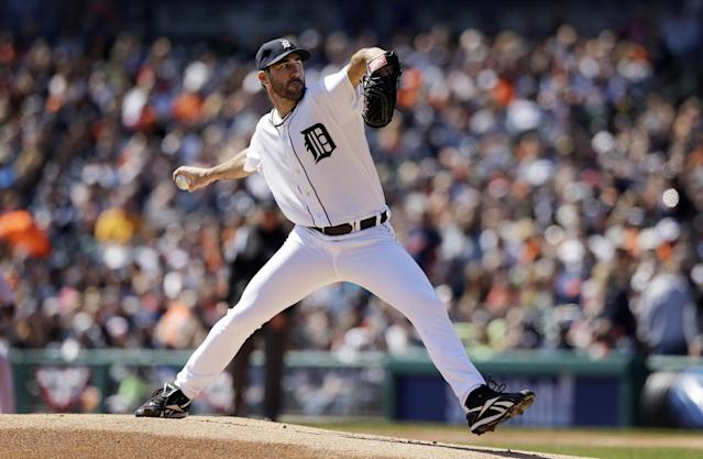 Detroit Tigers starting pitcher Justin Verlander throws during the first inning of a baseball game against the Baltimore Orioles in Detroit, Sunday, April 6, 2014. (AP Photo/Carlos Osorio)