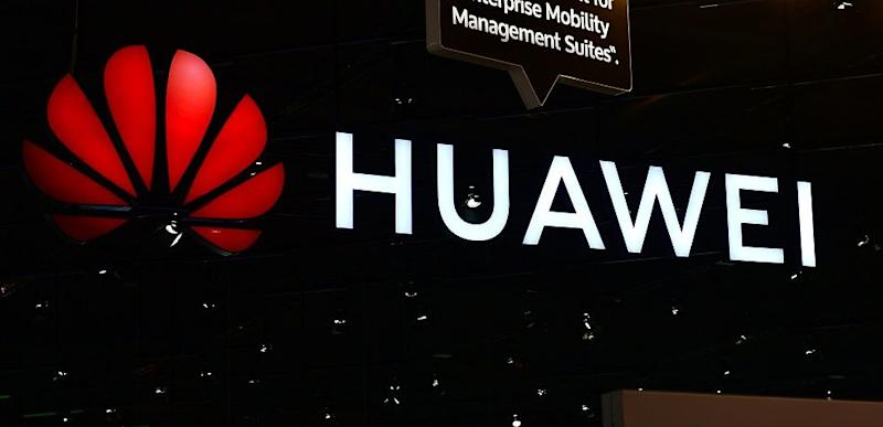 The Huawei logo at the 2018 CeBIT technology trade fair