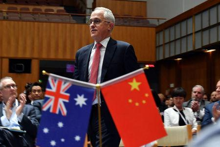 Prime Minister Malcolm Turnbull at an Australia China Business Council (ACBC) 2018 Canberra Networking Day event at Parliament House in Canberra, Australia, June 19, 2018. AAP/Mick Tsikas/via REUTERS    ATTENTION EDITORS - THIS IMAGE WAS PROVIDED BY A THIRD PARTY. NO RESALES. NO ARCHIVE. AUSTRALIA OUT. NEW ZEALAND OUT.