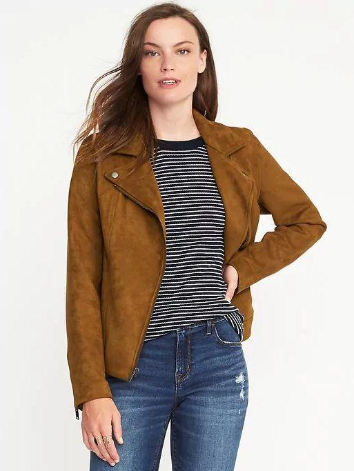 "Old Navy's sueded-knit moto jacket is <a href=""http://oldnavy.gap.com/browse/product.do?cid=74688&pcid=55474&vid=1&pid=776181022"" target=""_blank"">only $60</a>, and comes in two colors."