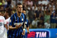 Inter Milan midfielder Stevan Jovetic celebrates after scoring a penalty during the Serie A match against Carpi at the Alberto Braglia Stadium in Modena on August 30, 2015 (AFP Photo/Giuseppe Cacace)