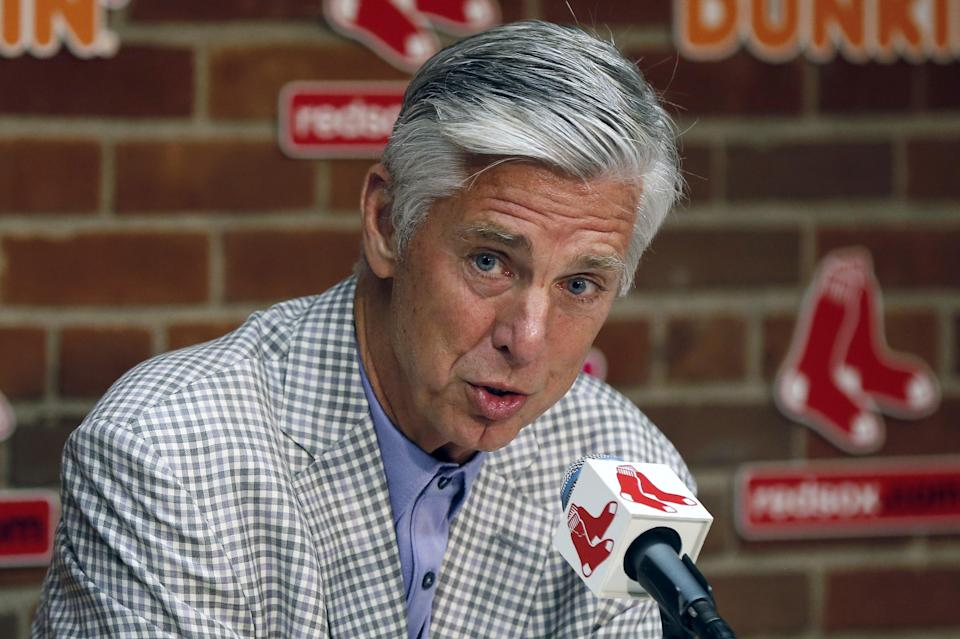 Boston Red Sox President of Baseball Operations Dave Dombrowski speaks during a news conference before a baseball game against the Los Angeles Dodgers in Boston, Saturday, July 13, 2019. (AP Photo/Michael Dwyer)
