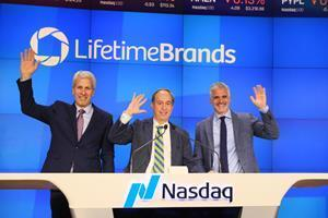 CEO Rob Kay, CFO Larry Winoker and Chairman Daniel Siegel ring the closing bell at the Nasdaq Stock Market to celebrate the 30th anniversary of Lifetime Brands, Inc. as a public company