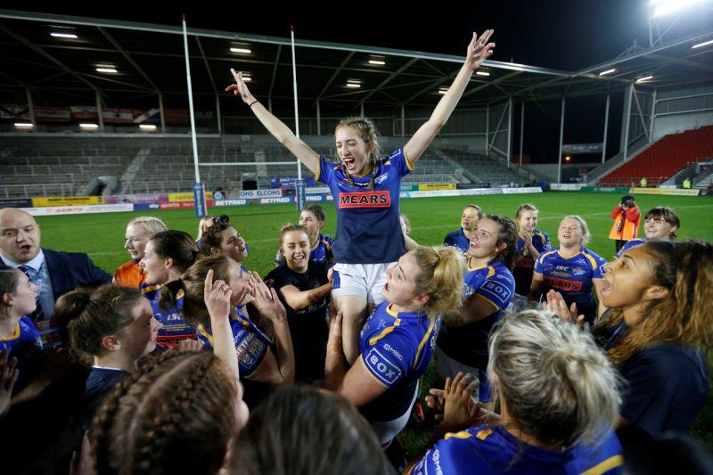 Caitlin Beevers celebrating winning the Betfred Super League Grand Final with Leeds Rhinos in October // Action Images/Ed Sykes