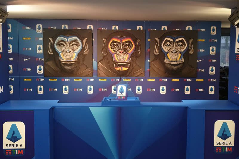 An anti-racism campaign artwork by Italian artist Simone Fugazzotto featuring three side-by-side paintings of apes is presented by Italian soccer league Serie A during a news conference in Milan