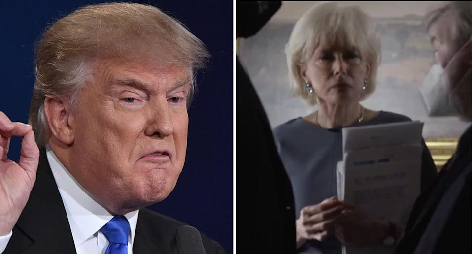 Donald Trump pictured left. 60 Minutes journalist Leslie Stahl is pictured right.