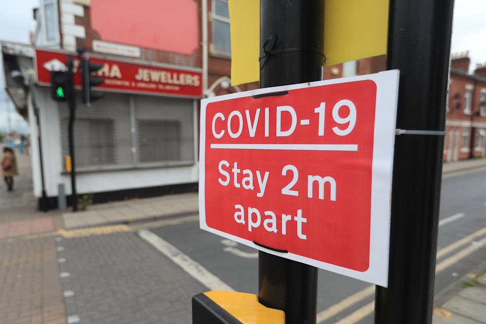 Social distancing signs in Leicester, which remains in local lockdown, despite coronavirus lockdown restrictions being eased across the rest of England. (Photo by Mike Egerton/PA Images via Getty Images)
