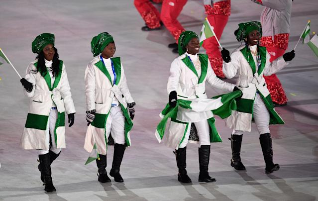 <p>An all-female group of Olympians allowed Nigeria the ability to customize its outfits to one specific gender. The jackets are sharp, though the green headwear is…interesting. </p>