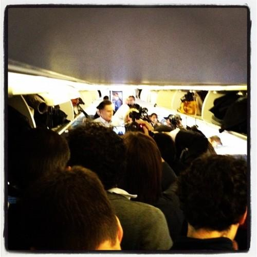 Romney SPEAKS on the plane! But nobody can hear him. Photo by Holly Bailey/Yahoo!