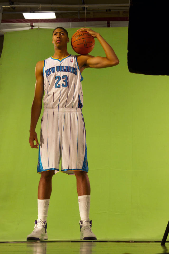 October 1, 2012; Westwego, LA, USA; New Orleans Hornets power forward Anthony Davis (23) is shot for video promos  during media day at the Alario Center. Mandatory Credit: Derick E. Hingle-US PRESSWIRE