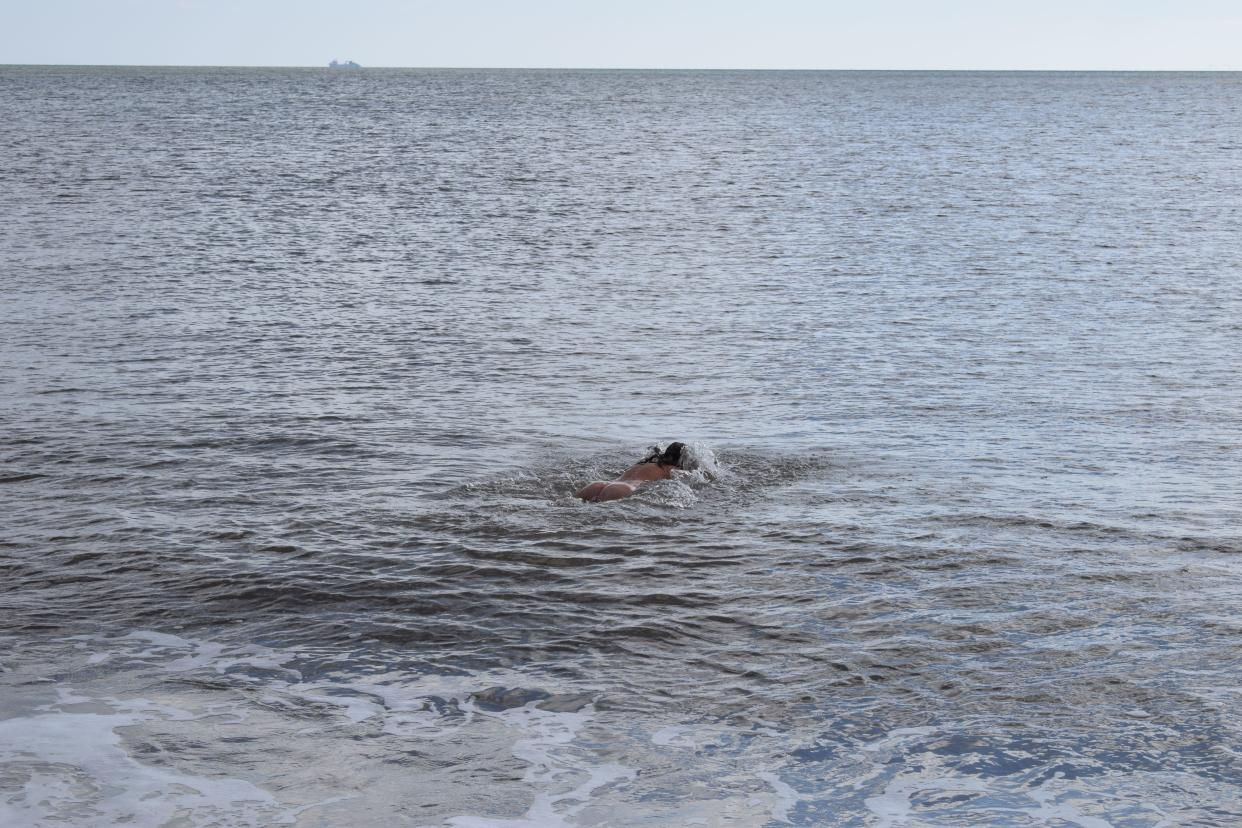 A chilly swim in the British briny (Price, supplied)