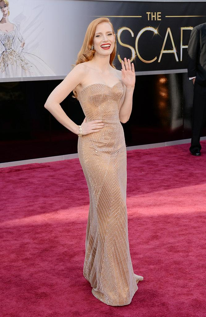 Jessica Chastain arrives at the Oscars in Hollywood, California, on February 24, 2013.