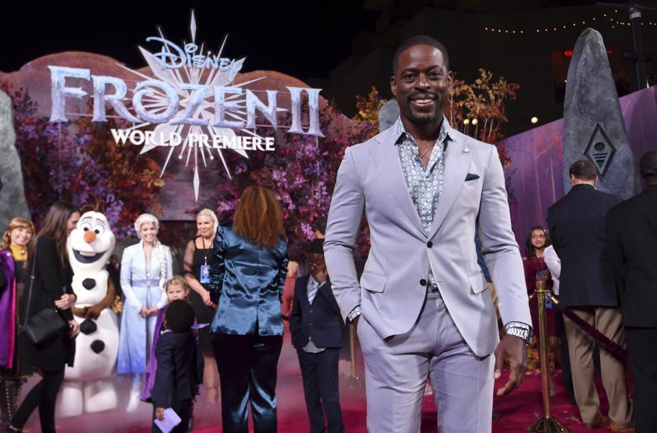 "Sterling K. Brown arrives at the world premiere of ""Frozen 2"" at the Dolby Theatre on Thursday, Nov. 7, 2019, in Los Angeles. (Photo by Chris Pizzello/Invision/AP)"