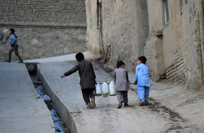 A shortage of rain and snow, a booming population and wasteful consumption have drained the Afghan capital's water basin and sparked a race to the bottom as households and businesses bore deeper and deeper wells in search of the precious resource (AFP Photo/WAKIL KOHSAR)
