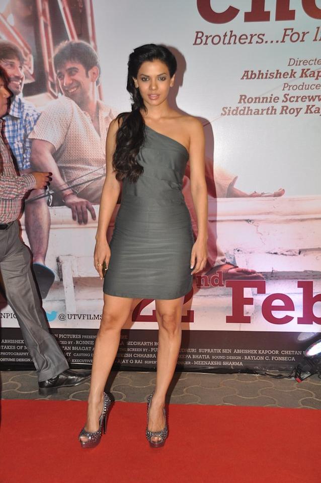 Murder 3 star Sara Loren poses for the shutterbugs in her steel grey dress.