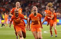 Jackie Groenen of the Netherlands celebrates after scoring her team's first goal with teammate Shanice Van De Sanden during the 2019 FIFA Women's World Cup France Semi Final match between Netherlands and Sweden at Stade de Lyon on July 03, 2019 in Lyon, France. (Photo by Robert Cianflone/Getty Images)