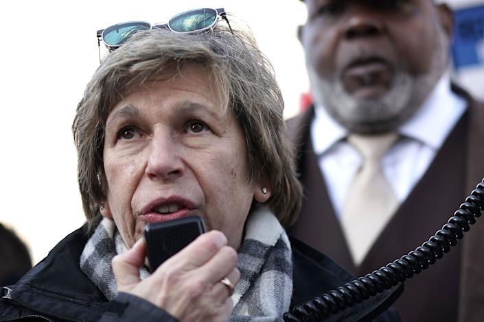 "American Federation of Teachers President Randi Weingarten speaks during a rally outside the Department of Education Feb. 8, 2018, in Washington. The union leader said GOP's plan to limit coronavirus liability would ""callously transfer virus risk from institutions to workers and students."" (Photo: Alex Wong via Getty Images)"