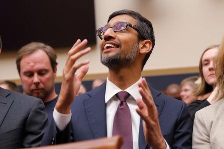 "Google CEO Sundar Pichai arrives to testify at a House Judiciary Committee hearing ""examining Google and its Data Collection, Use and Filtering Practices"" on Capitol Hill in Washington, U.S., December 11, 2018. REUTERS/Jim Young"