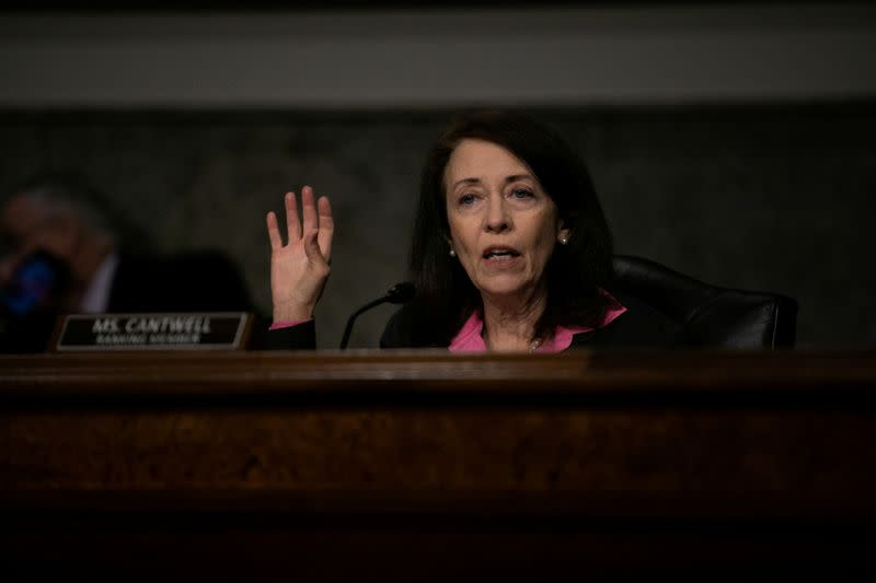 FILE PHOTO: U.S. Senator Cantwell at Federal Aviation Administration oversight of aircraft certification hearing on Capitol Hill in June 2020