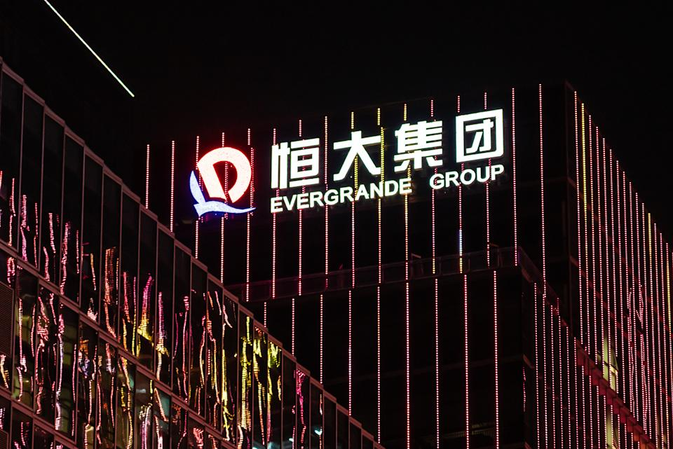 SHENZHEN, GUANGDONG, CHINA - 2019/10/05: Chinese property developer Evergrande Group logo seen on top of a skyscraper at night. (Photo by Alex Tai/SOPA Images/LightRocket via Getty Images)