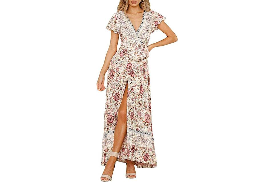 Zesica boho floral wrap dress in off-white and red