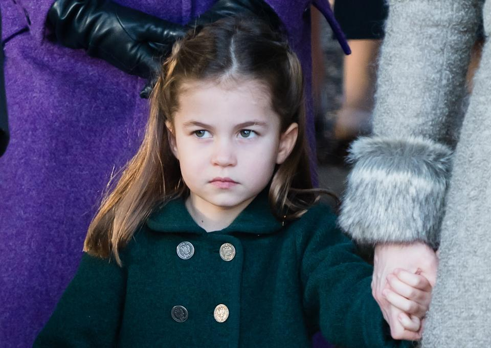 <p>Princess Charlotte attends the Christmas Day Church service at Church of St Mary Magdalene on the Sandringham estate in 2019. (Samir Hussein/WireImage)</p>