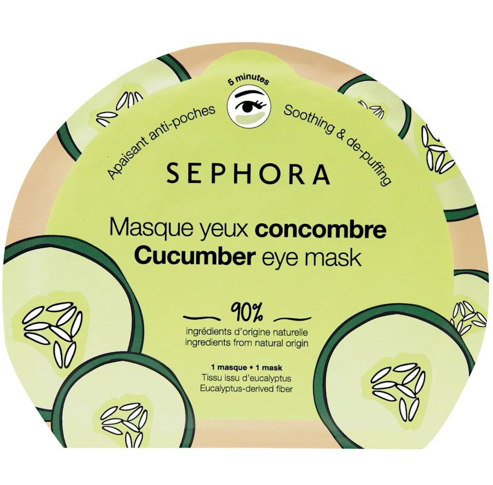 """Look like you got eight hours of sleep with these soothing eye masks that'll help depuff your eyes and diminish dark circles.<br /><br /><strong>Promising review:</strong>""""I love the cucumber scent it has to it and<strong>my under eyes are SO depuffed after using one</strong>. Sephora has the best eye masks and I would not use any other ones."""" —<a href=""""https://go.skimresources.com?id=38395X987171&xs=1&url=https%3A%2F%2Fwww.sephora.com%2Fproduct%2Fsephora-collection-clean-eye-mask-P460856&xcust=HPBasicBeauty607dad6fe4b0bc5a3a5a7609"""" target=""""_blank"""" rel=""""nofollow noopener noreferrer"""" data-skimlinks-tracking=""""5909265"""" data-vars-affiliate=""""Rakuten"""" data-vars-campaign=""""BasicBeautyProductsAman03-28-31-5909265"""" data-vars-href=""""https://click.linksynergy.com/deeplink?id=yPKHhJU2qBg&mid=2417&murl=https%3A%2F%2Fwww.sephora.com%2Fproduct%2Fsephora-collection-clean-eye-mask-P460856&u1=BasicBeautyProductsAman03-28-31-5909265"""" data-vars-keywords=""""skincare"""" data-vars-link-id=""""16567564"""" data-vars-price="""""""" data-vars-product-id=""""21055261"""" data-vars-product-img=""""https://www.sephora.com/productimages/sku/s2283034+sw-62.jpg"""" data-vars-product-title=""""Clean Eye Mask"""" data-vars-redirecturl=""""https://www.sephora.com/product/sephora-collection-clean-eye-mask-P460856"""" data-vars-retailers=""""Sephora,sephora"""" data-ml-dynamic=""""true"""" data-ml-dynamic-type=""""sl"""" data-orig-url=""""https://click.linksynergy.com/deeplink?id=yPKHhJU2qBg&mid=2417&murl=https%3A%2F%2Fwww.sephora.com%2Fproduct%2Fsephora-collection-clean-eye-mask-P460856&u1=BasicBeautyProductsAman03-28-31-5909265"""" data-ml-id=""""26"""">Pablothedog</a><br /><br /><strong>Get it from Sephora for<a href=""""https://go.skimresources.com?id=38395X987171&xs=1&url=https%3A%2F%2Fwww.sephora.com%2Fproduct%2Fsephora-collection-clean-eye-mask-P460856&xcust=HPBasicBeauty607dad6fe4b0bc5a3a5a7609"""" target=""""_blank"""" rel=""""nofollow noopener noreferrer"""" data-skimlinks-tracking=""""5909265"""" data-vars-affiliate=""""Rakuten"""" data-vars-campaign=""""BasicBeautyProductsAman03-28-31-5909265"""""""