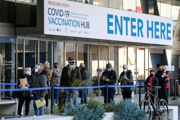 PHOTO: People stand in line at the mass vaccination site at San Francisco's Moscone Convention Center, on opening day, for healthcare workers and people over 65 on Feb. 5, 2021, in San Francisco. (Amy Osborne/AFP via Getty Images)