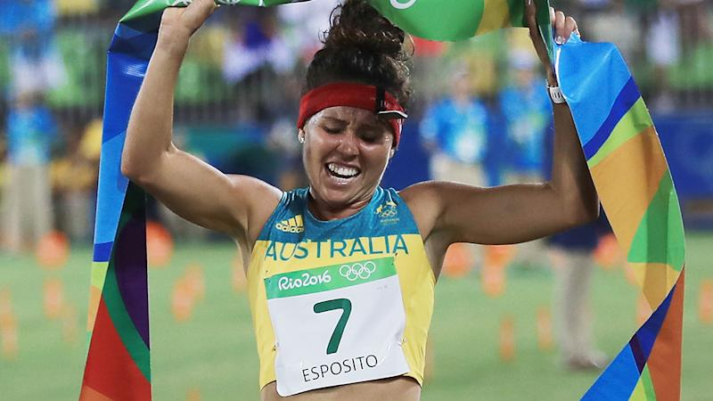 Chloe Esposito, pictured here winning gold in the Modern Pentathlon at the Rio 2016 Olympics.