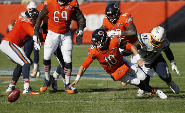 Chicago Bears quarterback Mitchell Trubisky fumbles the ball in front of Los Angeles Chargers defensive end Damion Square. The Chargers won 17-16. (AP)