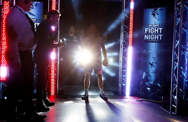 Boxing - Carl Frampton v Nonito Donaire - WBO Interim Featherweight World Title - SSE Arena, Belfast, Britain - April 21, 2018 Carl Frampton makes his entrance before the fight Action Images via Reuters/Jason Cairnduff