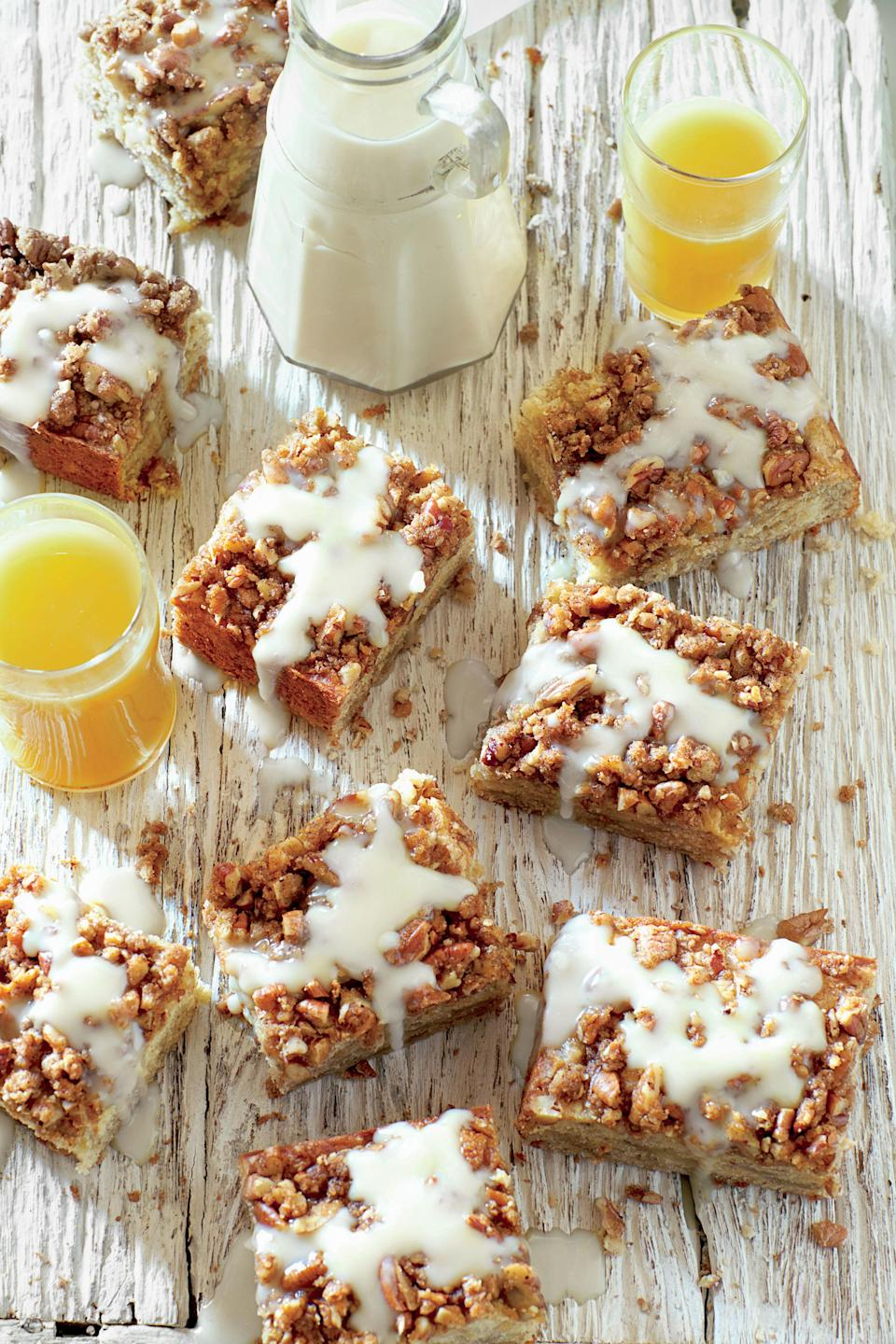 """<p><strong>Recipe: <a href=""""http://www.myrecipes.com/recipe/bananas-foster-coffee-cake"""" rel=""""nofollow noopener"""" target=""""_blank"""" data-ylk=""""slk:Bananas Foster Coffee Cake with Vanilla-Rum Sauce"""" class=""""link rapid-noclick-resp"""">Bananas Foster Coffee Cake with Vanilla-Rum Sauce</a></strong></p> <p>Substitute extra cream for rum in the sauce, if you prefer.</p>"""