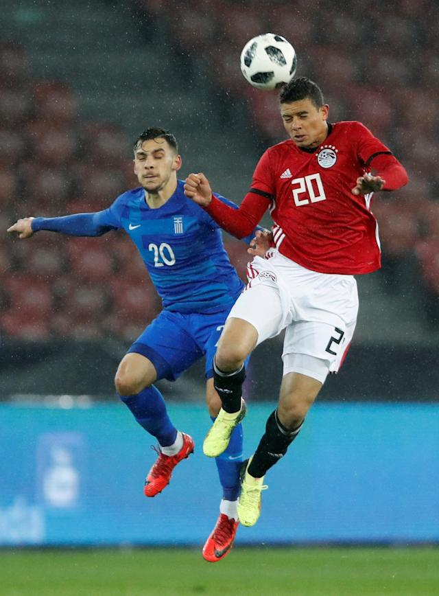 Soccer Football - International Friendly - Egypt vs Greece - Stadion Letzigrund, Zurich, Switzerland - March 27, 2018 Egypt's Saadelin Saad in action with Greece's Anastasios Donis REUTERS/Arnd Wiegmann