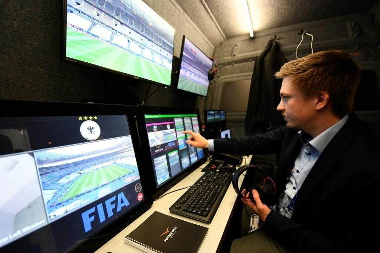 A technician checks the video arbitration system that will be used during the friendly football match France vs Spain on March 28, 2017 at the Stade de France stadium in Saint-Denis, north of Paris