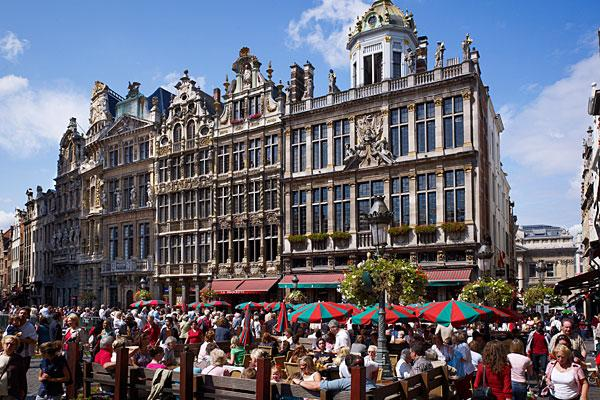 """<b>5. (Tied) Belgium</b> <br>Highest income tax rate: 50% <br>Average 2010 income: $52,700<br><br>Belgium's highest tax rate of 50 percent is 5 percentage points higher than the average for Western Europe, which has the highest personal tax rates of any region globally.  <br><br>The highest marginal tax rate kicks in at $46,900 of income. The country's employee social security rate is 13 percent with employer contributions at 35 percent. Municipal taxes can be up to 11 percent of income, while nonresidents pay a fixed 7 percent rate. Capital gains tax is either 16.5 percent or 33 percent, though taxpayers can get some exemptions. For expatriates, if an executive travels 25 percent of their time on business, then the top marginal tax rate can be reduced to 40 percent of income.  <br><br>Belgians have the <a href=""""http://www.oecd.org/document/55/0,3746,en_2649_34533_47422071_1_1_1_1,00.html"""">highest tax and social security burden</a>, according to a recent OECD study. In 2011, single taxpayers with an average income took home less than 45 percent of what they cost their employer. Taxpayers at higher earnings took home less than 40 percent. According to the study, the overall tax burden increased for all types of households in the country in 2011. <br><br>Pictured: Grote Markt in Brussels"""
